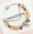 Authentic Pandora Charm Bracelet Silver Bangle with Love Heart European Charms