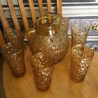 Anchor Hocking Lido Milano Amber Glass Ball Pitcher  6 Glasses MCM Honey Gold