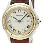 Polished CARTIER Panthere Cougar 18K Gold Steel Quartz Men Watch 187904 BF500996