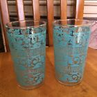 2 VINTAGE GOLD RIM TURQUOISE BLUE DRINKING GLASSES TUMBLERS MCM