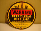 AMOCO PIPELINE SIGN, DRUMRIGHT OKLAHOMA, OLD PORCELAIN