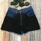 Vintage High Waisted Cut Off Denim Shorts Genuine Suede Chaps Distressed