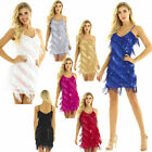 Women Spaghetti Strap Tassel Sequin Fringe Flapper Dress Evening Party Dancewear