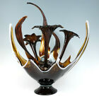 VTG Huge MCM Italian Swung Art Glass Centerpiece Bowl Hand Blown Lilies Sheaves