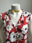 Karl Lagerfeld X Large NWT Red Black White Print Sleeveless Pearl Front Blouse