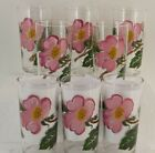 VTG EXC 8PC FEDERAL GLASS PAINTED WILD ROSE 12OZ GLASS TUMBLER PINK FLOWER