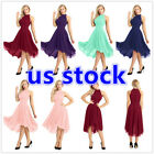 US Women Sleeveless High Low Bridesmaid Wedding Dress Chiffon Halter Party Dress