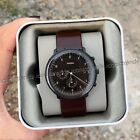 NWT🍂FOSSIL FS5485 Chase Chronograph Whisky Brown Leather 42mm Black Steel Watch