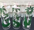 Vintage LIBBEY'S Tom Collins  HIGHBALL Glasses - Green/White Palm Trees Set of 3