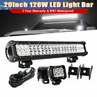 20 126W Straight LED Light Bar Spot Flood Driving Light Front Bumper ATV YJ DTB
