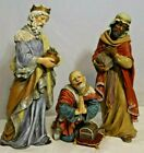 Vintage Three Wise Men Set Ceramic Christmas Nativity Figures Large