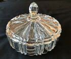 Vintage Anchor Hocking Old Cafe Pattern Lrg Clear Covered Candy Dish Power Box