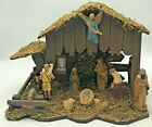 Vintage Nativity Scene Holy Family Crche Composition with Wooden Stable