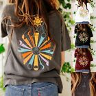 Fashion Women Summer Sun and Moon Printed T Shirts Loose Gothic Pullover Tops