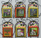 Handmade Halloween Gift Tags Set 6 SEWN Scrapbook Paper Stinky Stickers pack890