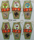 Handmade Halloween Gift Tags Set 6 SEWN Scrapbook Paper Coffin Spiders pack890