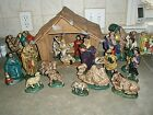 20 Piece Vintage Atlantic Mold Nativity Ceramic Set LARGE