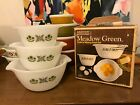 New in Box Fire King/Anchor Hocking Meadow Green 3-piece Mixing Bowl Set