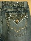 MISS ME Vintage Bootcut Jeans 27 Low Rise Studded Jewels Y13