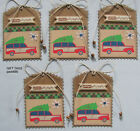 Handmade Christmas Holiday Gift Tags 5 SEWN Scrapbook Paper Red Truck pack890