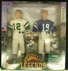 "1996 JOE NAMATH & JOHNNY UNITAS 12"" STARTING LINEUP HALL OF FAME LEGENDS NIB"