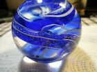 GES GLASS EYE STUDIO GLITTERY TWISTED DESIGN 2004 PAPERWEIGHT