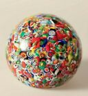 paperweight glass John Gentile millefiore red greenblue yellow and white