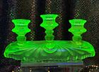 Vintage Green Vaseline Glass Triple Candelabra Candle Holder