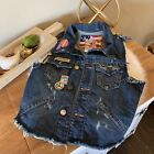 TRUE RELIGION Distressed Embellished Denim Vest Womens Jean Jacket Vest Small