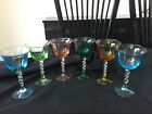 Vntg Lot of 6 Colored Bowl Foot w Clear Twisted Stem Cocktail Wine Elegant Glass