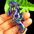 BlueGold Carved Inlaid Lampwork Glass Sea Horse Pendant Bead M23675