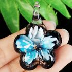 Carved Blue Black Inlaid Lampwork Glass Flower Pendant Bead A46923