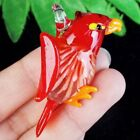 53x29x13mm Red Yellow Inlaid Lampwork Glass Bird Pendant Bead A46964