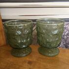 Anchor Hocking Avocado Green Lido Milano Goblet Glasses Footed