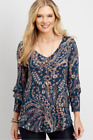 MAURICES NEW Dark Green Floral Ruffled Keyhole Back  Sleeves Knit Tee Top XL 1X