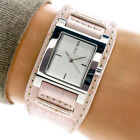 DKNY Womans Watch NY3349 Pink Leather Cuff Band Silver Dial 30m Working