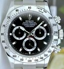 ROLEX - 40mm Stainless DAYTONA Black Index Dial Fat Clasp 116520 - SANT BLANC