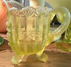 Antique Northwood Vaseline Opalescent Glass Klondyke Fluted Scroll Creamer