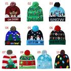 Christmas LED Knitted Beanie Hat Winter Snow Men Women Holiday Beanie Cap Unisex