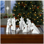 White Porcelain Origami Nativity Set 9 Piece Holy Family Christmas Holiday Decor