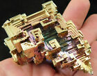 A BIG Super Symmetrical Green Purple Pink and Gold BISMUTH Crystal 170gr e