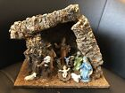 Vintage 10 Piece Italian Jesus Mary 3 Kings Animals Christmas Nativity + Manger