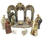 Christmas Nativity Scene Set Glazed Ceramic Figurines With Stable 10 Piece