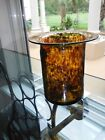 Heavy 6 Tall Murano Glass Tortoise Shell Leopard Amber Flower Wide Mouth VASE