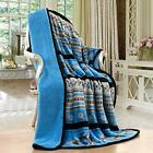 Southwestern Design Silk Touch Sherpa Lined Native American Throw Turquoise