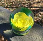 Yellow Bill Valla Millville Rose Paperweight South Jersey glass FREE SHIPPING