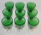 Anchor Hocking Forest Green Clear Bubble Foot Stem; 9 Juice Glasses