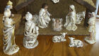 Antique 12 Mache Manger Creche Nativity Set with Gorgeous Figures Vintage