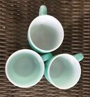 3 Hazel Atlas Aqua Turquoise Coffee Mugs Cups White Inside