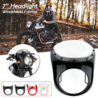 Retro Motorcycle 7'' Headlight Fairing w/ Windshield For Cafe Racer Drag Racing